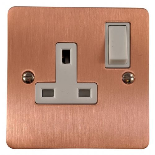G&H FRG9W Flat Plate Rose Gold 1 Gang Single 13A Switched Plug Socket